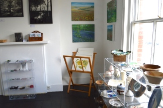 work by resident artists in the upstairs gallery